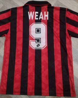Authentic jersey Weah Milan AC 1995-96 home Adidas Vintage