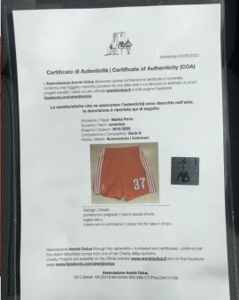 Pantaloncino Juventus PERIN INDOSSATI Panchina SERIE A Certificato Autenticità
