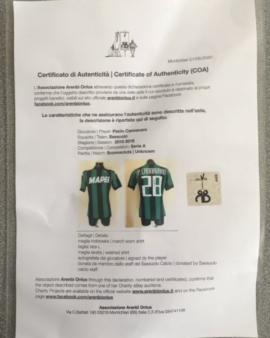 Maglia Sassuolo INDOSSATA CANNAVARO CON AUTOGRAFO + CERTIFICATO D'AUTENTICITÀ