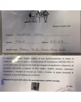 Maglia Italia Sirigu INDOSSATA Grecia-Italia 8/06/19CON CERTIFICAT D'AUTENTICITÀ