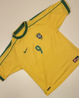 Brazil Home Shirt World Cup 98 Ronaldo 9 Size L