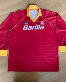 Maillot domicile AS Roma 1988-90 signe par Rudi Voller